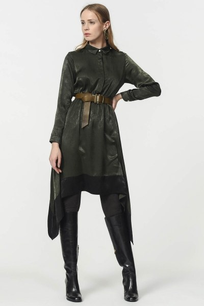 MIZALLE - Asymmetric Tunic Shirt (Green) (1)