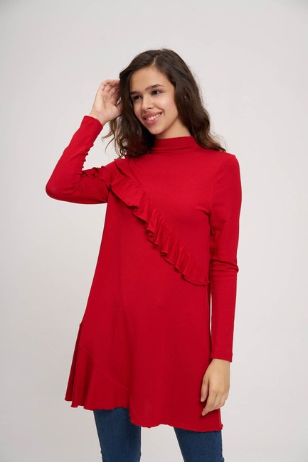 MIZALLE YOUTH - Asymmetric Flywheel Detailed Tunic (Red) (1)
