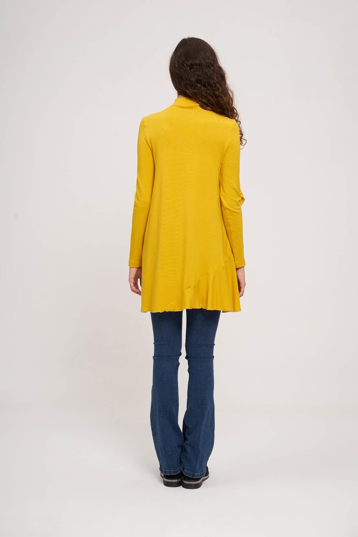 Asimetrik Volan Detaylı Sarı Tunik