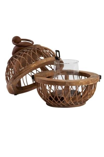 MIZALLE - Bamboo Lantern With Strap (28X28X37,5) (1)