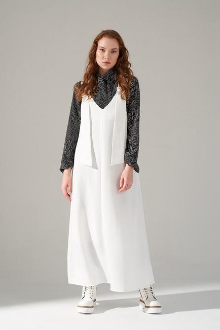 Mizalle - Askılı Jile Elbise (Ekru)