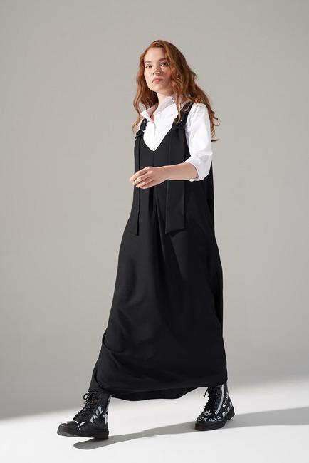 Mizalle - Askılı Jile Elbise (Siyah)