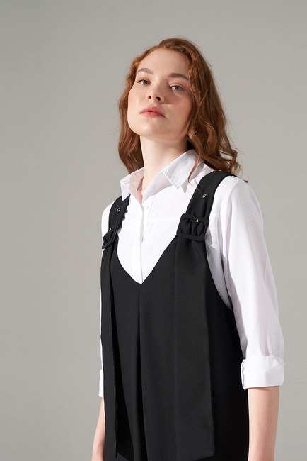 Askılı Jile Elbise (Siyah) - Thumbnail