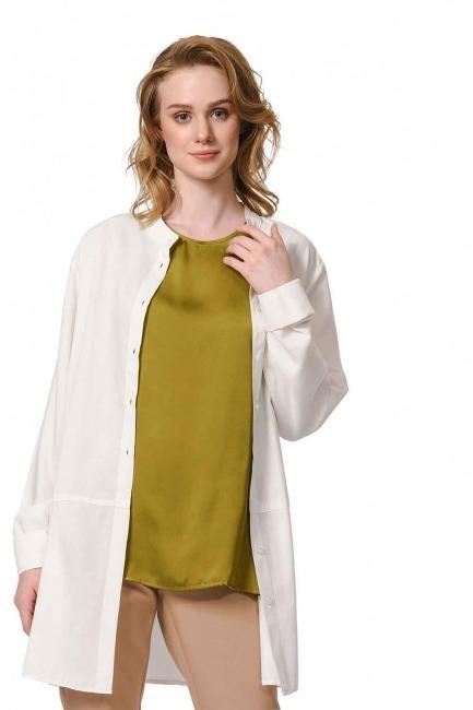 MIZALLE Askılı Saten Kolsuz Bluz (Haki)