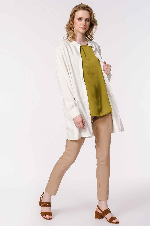 MIZALLE Askılı Saten Kolsuz Bluz (Haki) (1)