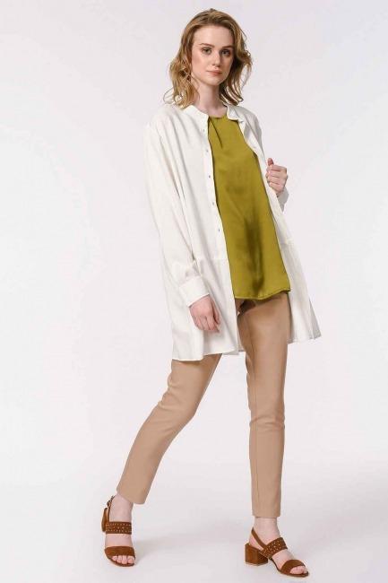 MIZALLE - Askılı Saten Kolsuz Bluz (Haki) (1)