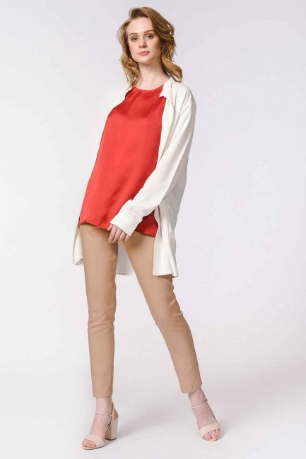Askılı Saten Kolsuz Bluz (Kırmızı) - Thumbnail