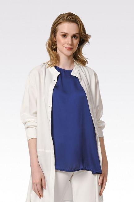 Mizalle - Askılı Saten Kolsuz Bluz (Lacivert)