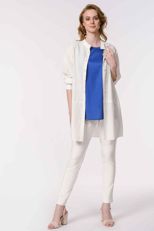 MIZALLE Askılı Saten Kolsuz Bluz (Saks Mavisi) (1)
