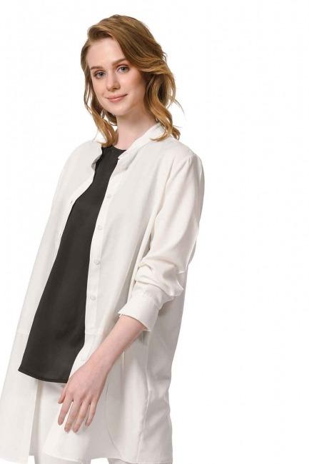 MIZALLE Askılı Saten Kolsuz Bluz (Siyah)