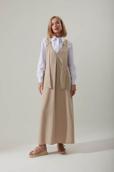 Mizalle - Askılı Uzun Bej Jile Elbise