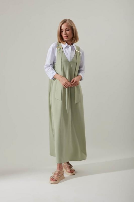 Askılı Uzun Mint Jile Elbise