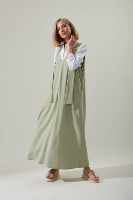Mizalle - Askılı Uzun Mint Jile Elbise