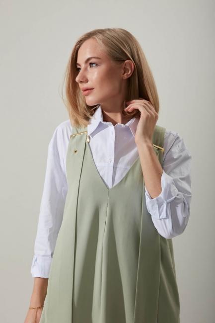 Askılı Uzun Mint Jile Elbise - Thumbnail