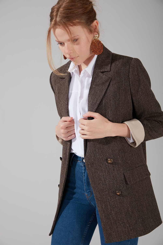 Astarlı Kruvaze Ceket (Kahve)