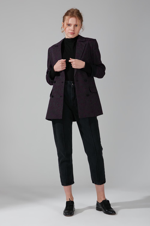 Mizalle - Astarlı Kruvaze Ceket (Siyah)