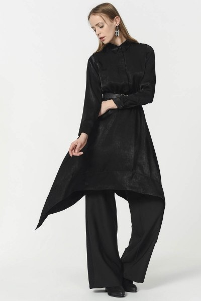 قميص تونيك بأشكال متداخلة (أسود) - Thumbnail