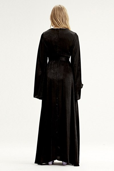 فستان بإكمام غير متماثلة الشكل (أسود) - Thumbnail