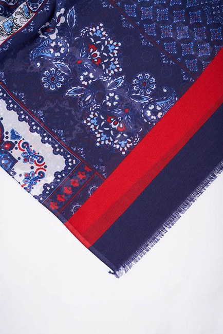 MIZALLE - Authentic Patterned Shawl (Navy Blue) (1)