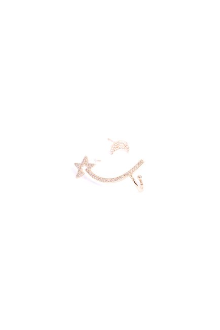 MIZALLE - Ay Yıldız Kıkırdak Küpe (Sarı) (1)