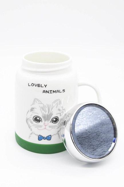 Aynalı Porselen Kupa (Kedi) - Thumbnail
