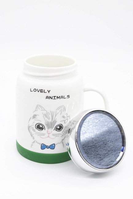 MIZALLE HOME - Aynalı Porselen Kupa (Kedi) (1)