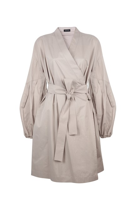 MIZALLE - Back Pocket Trench Coat (Stone) (1)