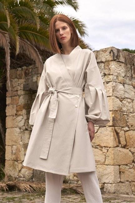 MIZALLE - Back Pocket Trench Coat (Stone) (1)