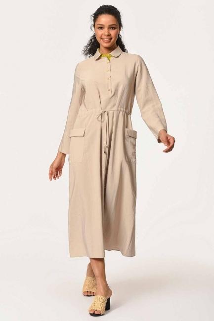 MIZALLE - فستان طويل بجيوب ورباط على الخصر (البيج) (1)