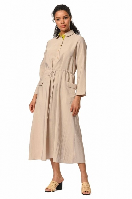 MIZALLE Bag Pocket Long Dress (Beige)