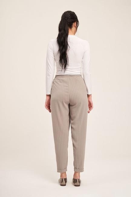 Bağcıklı Çizgili Pantolon (Gri) - Thumbnail
