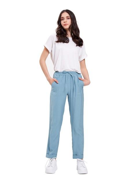 Mizalle - Bağcıklı Duble Paça Pantolon(Mint)