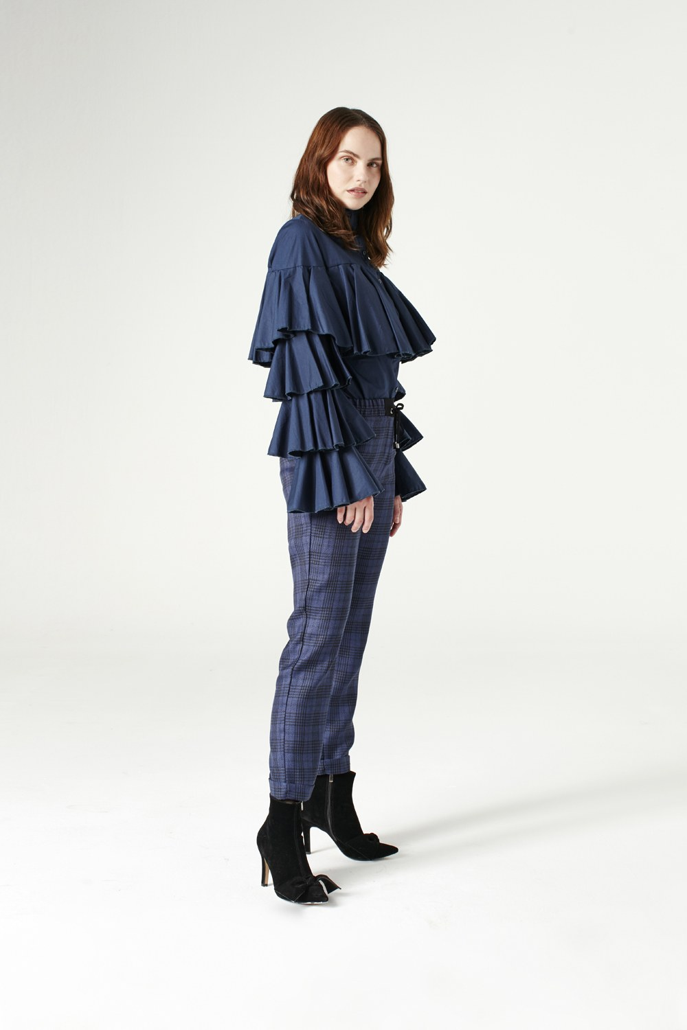 MIZALLE Laced Plaid Pants (Indigo) (1)