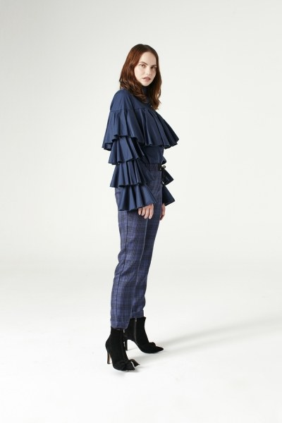 MIZALLE - Laced Plaid Pants (Indigo) (1)