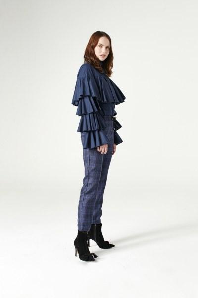 Plaid Lace Trousers (Indigo) - Thumbnail