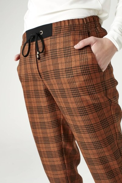 Bağcıklı Ekose Pantolon (Kahverengi) - Thumbnail
