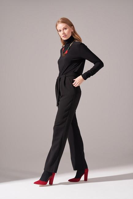 Bağcıklı Krep Pantolon (Siyah) - Thumbnail