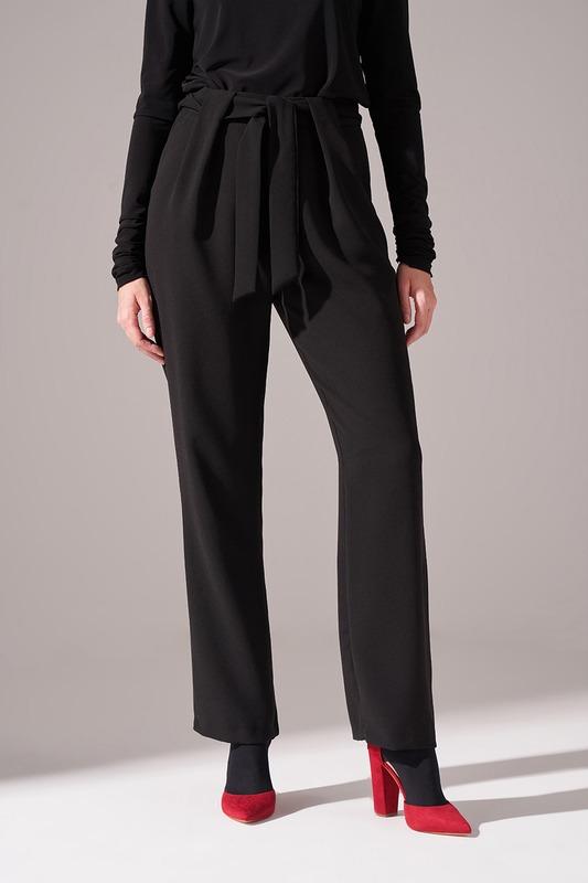 Bağcıklı Krep Pantolon (Siyah)
