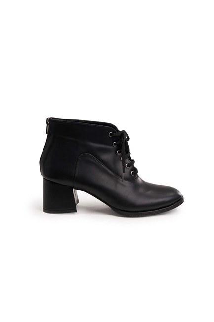 MIZALLE - أحذية الدانتيل متابعة (أسود) (1)