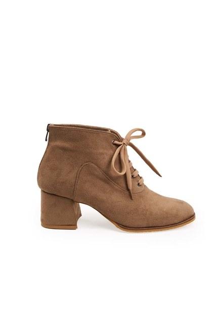حذاء نصف بوط باربطة (بيج شمواه) - Thumbnail