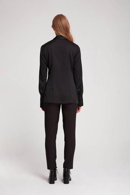Bağlama Biyeli Bluz (Siyah) - Thumbnail
