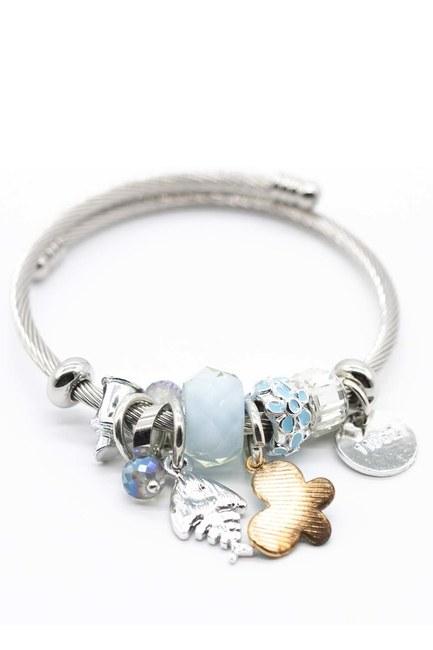 MIZALLE Fish Detailed Bracelet (Blue)