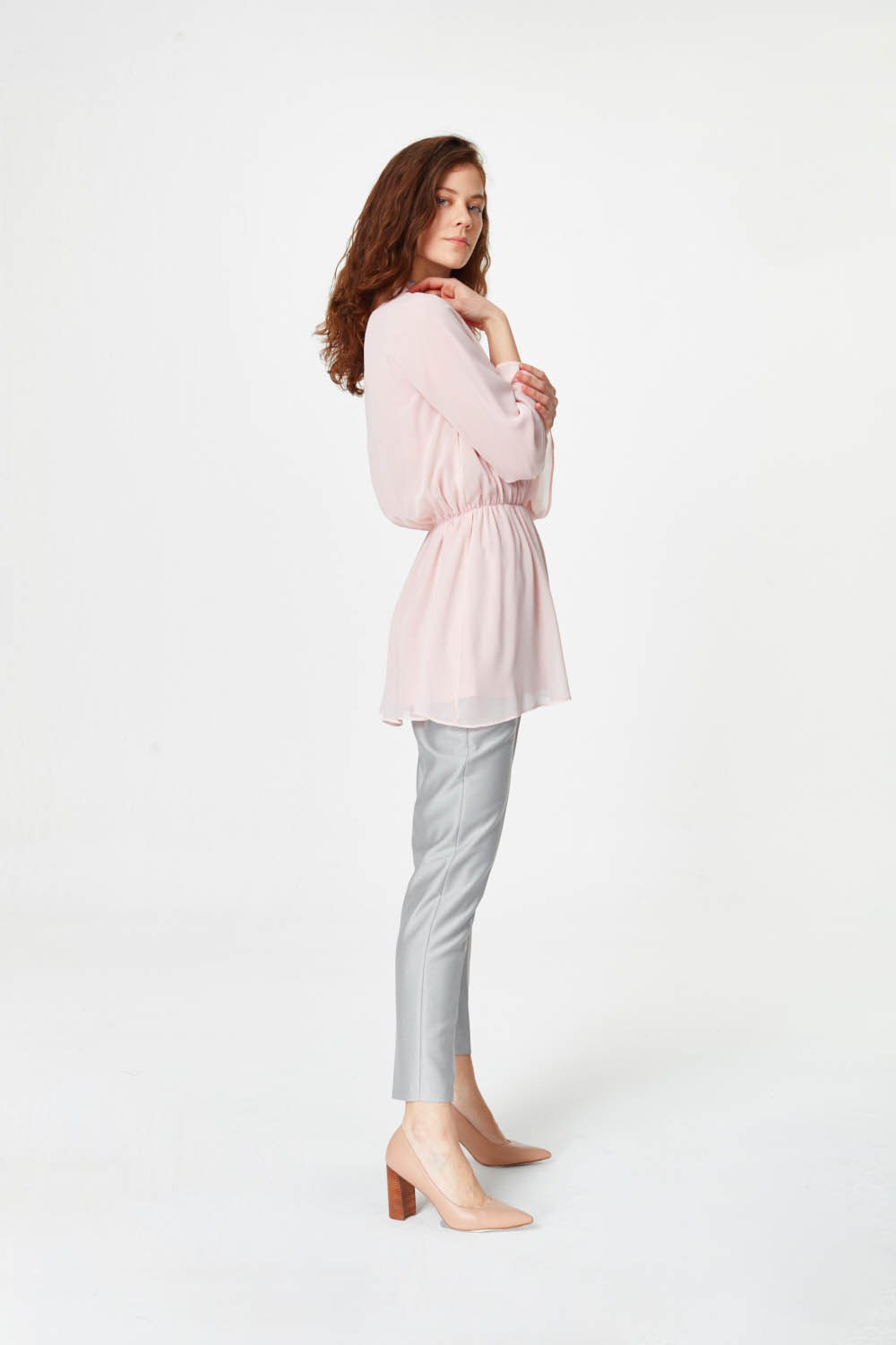 MIZALLE Turtleneck Blouse (Light Pink) (1)