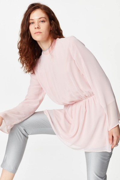 Turtleneck Blouse (Light Pink) - Thumbnail