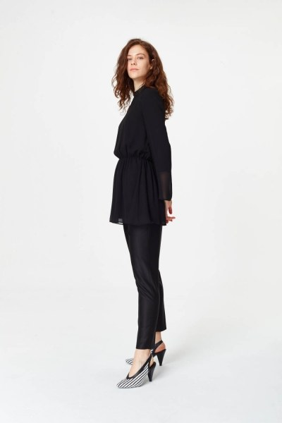 MIZALLE - Balıkçı Yaka Bluz (Siyah) (1)
