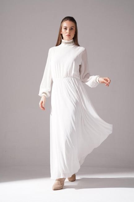 Mizalle - Balıkçı Yaka Şifon Elbise (Ekru)