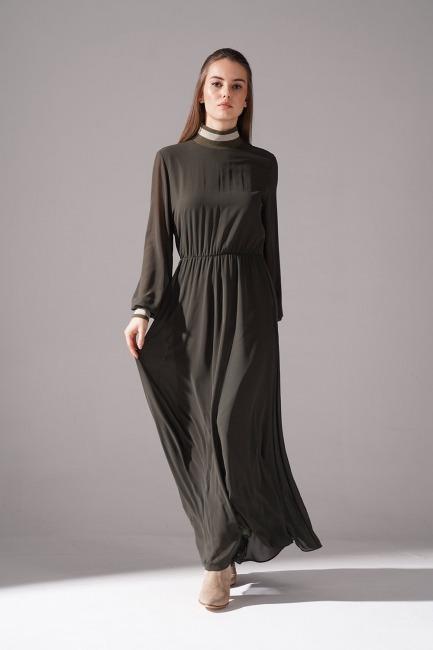 Mizalle - Balıkçı Yaka Şifon Elbise (Haki)