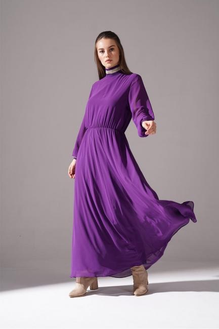 Mizalle - Balıkçı Yaka Mor Şifon Elbise
