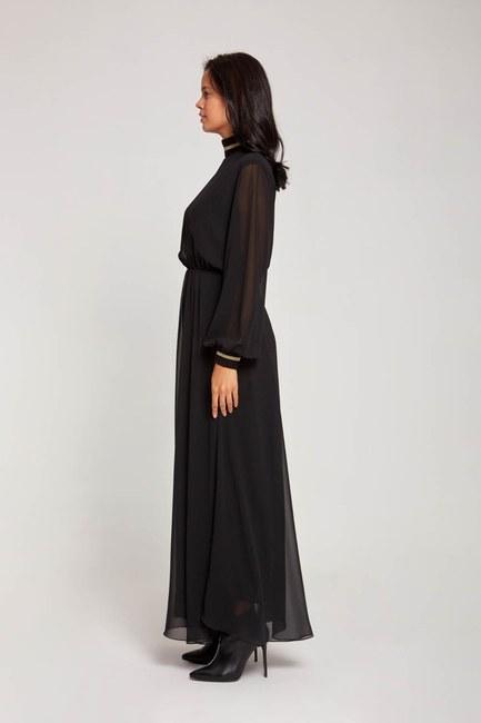MIZALLE - Balıkçı Yaka Şifon Elbise (Siyah) (1)