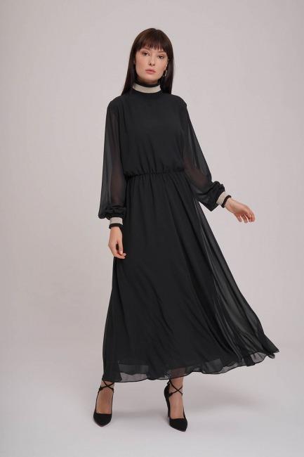 Mizalle - Balıkçı Yaka Şifon Elbise (Siyah)